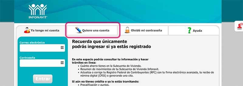 Registro en Mi espacio Infonavit (miespacioinfonavit)